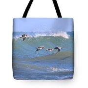 Pelicans Flying Between Waves 3788 Tote Bag