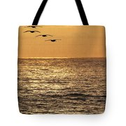 Pelicans Ocean And Sunsetting Tote Bag