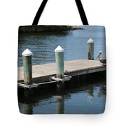 Pelicans On Dock In Florida Tote Bag