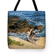 Pelicans On The Cliff - La Jolla Cove Tote Bag