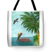 Pelicans Palm Trees Tropical Birds Cathy Peek Tote Bag