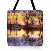 Pella Crossing Sunrise Reflections Hdr Tote Bag