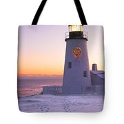 Pemaquid Point Lighthouse Christmas Snow Wreath Maine Tote Bag by Keith Webber Jr