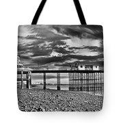 Penarth Pier Panorama Monochrome Tote Bag