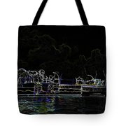Pencil - Statue Of The Merlion And Viewing Platform Tote Bag