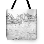 Pencil - Swimming Pool And A Leisure Chair Tote Bag