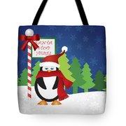 Penguin At Santa Stop Here Sign Tote Bag