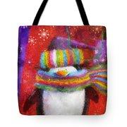 Penguin Happy Holidays Photo Art Tote Bag