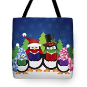 Penguins Carolers With Night Winter Scene Tote Bag