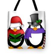 Penguins Singing Christmas Carol Cartoon Clipart Tote Bag