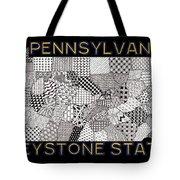 Pennsylvania Map Black Tote Bag