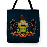 Pennsylvania State Flag Art On Worn Canvas Tote Bag by Design Turnpike