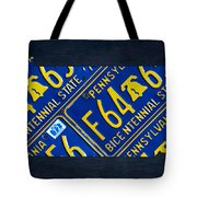 Pennsylvania State License Plate Map Tote Bag by Design Turnpike