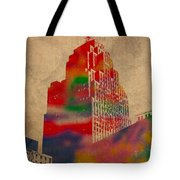 Penobscot Building Iconic Buildings Of Detroit Watercolor On Worn Canvas Series Number 5 Tote Bag by Design Turnpike