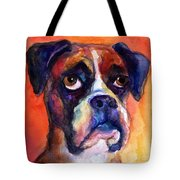 pensive Boxer Dog pop art painting Tote Bag