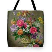 Peonies And Irises In A Ceramic Vase Tote Bag