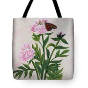 Peonies And Monarch Butterfly Tote Bag
