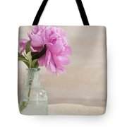 Peony And Blue Bottle Tote Bag
