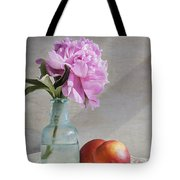 Peony Blue Bottle And Nectarine Tote Bag