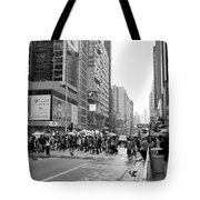 People Crossing The Street On A Rainy Day In Mong Kok Hong Kong Tote Bag