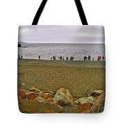 People Lined Up To Catch Capelin On The Shore Of Middle Cove-nl Tote Bag
