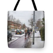 People On Bicycles In Winter Tote Bag