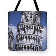 People On Top Of Leaning Tower Of Pisa Tote Bag