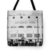 People Outside A Baseball Park, Old Tote Bag
