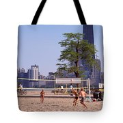 People Playing Beach Volleyball Tote Bag