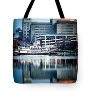 Peoria Illinois Cityscape And Riverboat Tote Bag