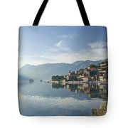 Perast Village In The Bay Of Kotor In Montenegro  Tote Bag
