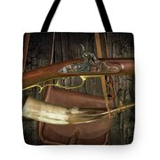 Percussion Cap And Ball Rifle With Powder Horn And Possibles Bag Tote Bag
