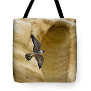 Peregrine Falcon Flying By Cliff Tote Bag