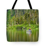 Perfect Sunday - Two People Fishing On A Lake In Mammoth California. Tote Bag