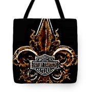 Perforated Brown Fleurs De Lys With Harley Davidson Logo  Tote Bag