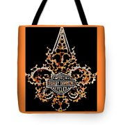 Perforated Fleurs De Lys With Harley Davidson Logo Tote Bag