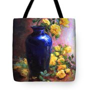 Persian Cobalt - Yellow Roses In Cobalt Vase Tote Bag