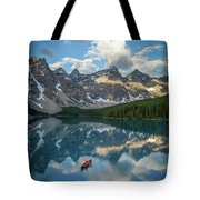 Person In Canoe On Moraine Lake, Banff Tote Bag