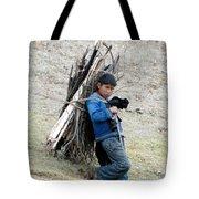 Peruvian Boy Gathers Wood Tote Bag