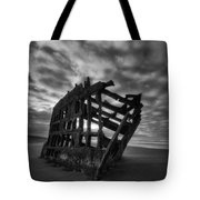 Peter Iredale Shipwreck Black And White Tote Bag