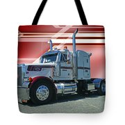 Peterbilt With Burgundy Abstract Tote Bag