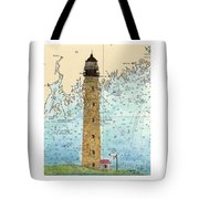 Petit Manan Island Lighthouse Me Nautical Chart Map Art Tote Bag