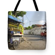 Petrol Stall And Cyclo Taxi In Solo City Indonesia Tote Bag
