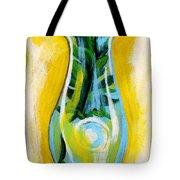 Petunia In Vase With Yellow Background Tote Bag