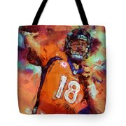 Peyton Manning Abstract 4 Tote Bag