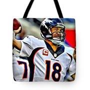 Peyton Manning Throwing The Pass Tote Bag