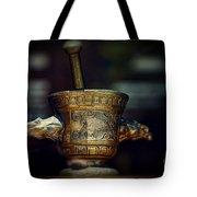 Pharmacy Brass Mortar And Pestle With Eagle Handles Tote Bag