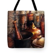 Pharmacy - Pestle - Pharmacology Tote Bag by Mike Savad