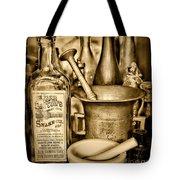 Pharmacy - Snake Oil -  Black And White Tote Bag