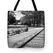 Phelps Ny Train Station In Black And White Tote Bag